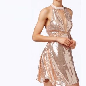 Free People Film Noir Sequin Mini Dress - Gold NWT